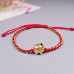 24k Gold Plated PURE SILVER LUCKY PIG  Red & Gold Rope Bracelet