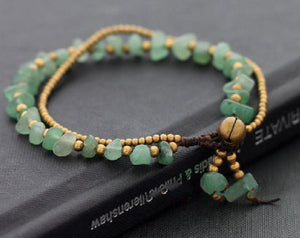 Natural JADE & Thai Brass 'SERENITY & PURITY' Boho  Bracelet