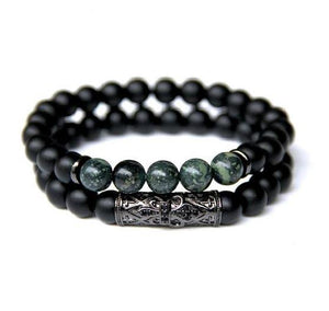 2/pc Natural Black Onyx & Kambaba Jasper' FOR PEACE'  Men's Bracelet  Set