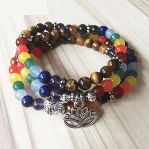 108 Mala PROTECTION & BALANCE 7 Chakra & Tiger Eye Wrap Bracelet