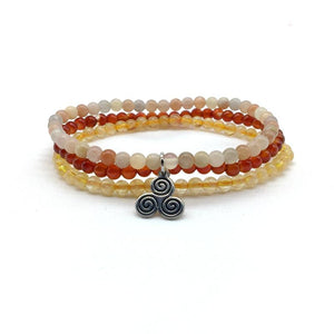 NATURAL ANTI-DEPRESSION 'PICK-ME-UPS' -Citrine,Sunstone & Carnelian- 3/pc  *MIGHTY MINIS*  Healing Energy Stone Bracelets