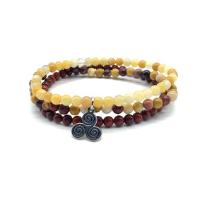 EMOTIONAL STABILITY & NURTURING  -Yellow Jade, Red Jasper & Mookaite- 3/pc  *MIGHTY MINIS*  Healing Energy Stone Bracelets