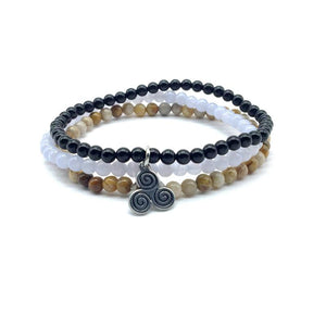 ANTI-ANXIETY & STRESS MINIS' -Chrysanthemum Stone,Blue Lace Agate & Tourmaline - 3/pc  *MIGHTY MINIS*  Healing Energy Stone Bracelets