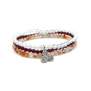 HEALTH & HAPPINESS-Garnet,Snow Quartz & Pink Agate- 3/pc
