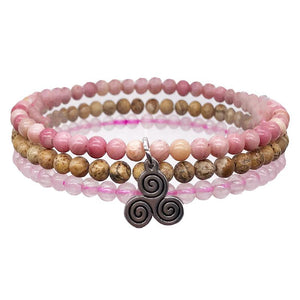 HEAL THE HEART-Rose Quartz,Picture Jasper & Rhodonite- 3/pc
