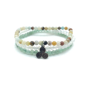 HARMONY & HEALING-Green Aventurine,Amazonite & Snow Quartz- 3/pc