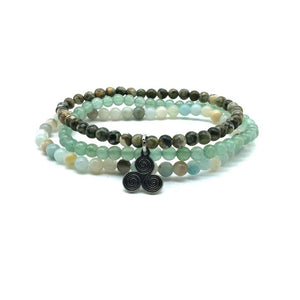 ATTRACT YOUR SOULMATE ( For Guys)  -Green Jade, Rhyolite & Amazonite- 3/pc  *MIGHTY MINIS*  Healing Energy Stone Bracelets