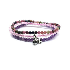 ATTRACT YOUR SOULMATE ( For Gals)  -Rainbow Tourmaline,Rose Quartz & Amethyst- 3/pc  *MIGHTY MINIS*  Healing Energy Stone Bracelets