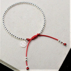 925 Sterling Silver Beads Lucky Red Rope with MONEY Charm