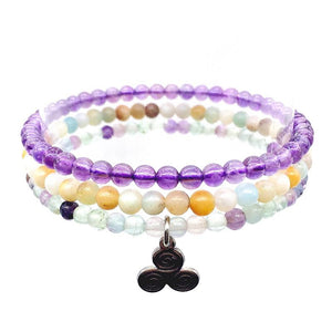CALMNESS & LIGHT-Amethyst ,Amazonite & Fluorite- 3/pc