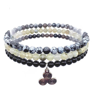 STRENGTH & PROTECTION-Snowflake Obsidian,Labradorite & Onyx- 3/pc