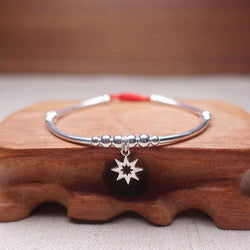 Sterling Silver 8 Point Star of REDEMPTION Red Rope Bracelet