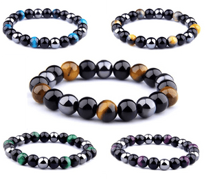 Natural Obsidian, Hematite & Assd Tiger Eye Beads MANIFEST GOALS Bracelet