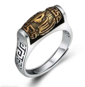 Sterling Silver Tibetan 6 SYLLABLE MANTRA Spinning Prayer Wheel Ring