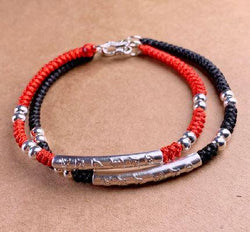 Tibetan Buddhist Pure Silver 6 syllable OM  MANTRA  Red Rope Bracelet