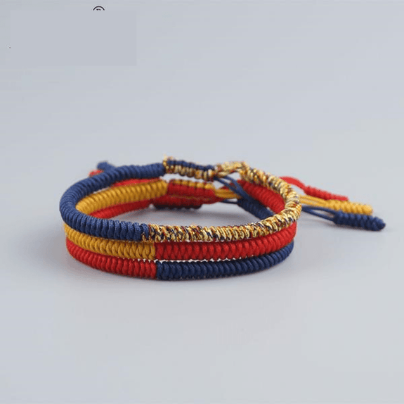 60f2e92b14 Find PEACE with this 3 pc Multi-Colored Tibetan Buddhist Braided Lucky Rope  Bracelet Set