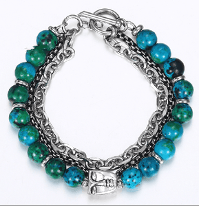 BUDDHA CALM-Stainless Steel & Chrysocolla Stone '3 in 1' Layered Men's Bracelet