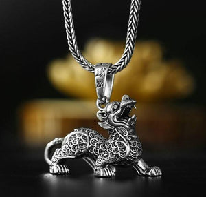 Sterling Silver WEALTH & SUCCESS FENG SHUI Pixiu Necklace