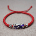 PURE SILVER Thermochromic Pi Xiu FENG SHUI WEALTH Rope Bracelet