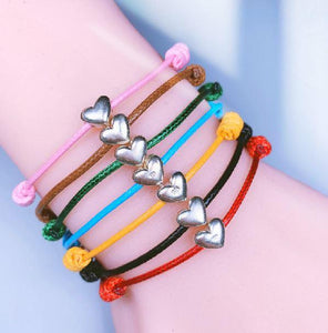 Wax Rope & 925 Sterling Silver CUTE LUCKY HEART Bracelet -Buy 2 get 1 FREE for a LIMITED TIME!