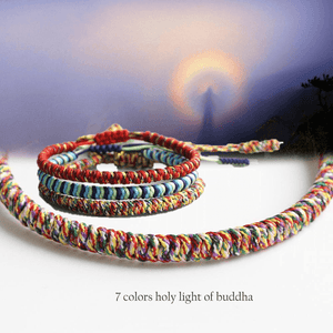 Tibetan Buddhist 7 COLORS -HOLY LIGHT of BUDDHA Hand knotted 3pc bracelet Set