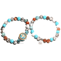 2 pc/ Set of  Buddhist MANTRA & Lotus Charm Stone SPIRITUAL Bracelets