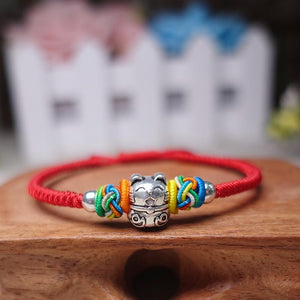 925 Silver Sterling FORTUNE CAT & PINEAPPLE KNOT Red Rope Bracelet