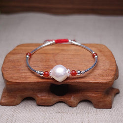 Freshwater Baroque Pearl, Red Agate & Silver REFLECTION Red Rope Bracelet