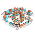 2 pc set of Natural Stone Bracelets with OM, Lotus & Buddha Charms