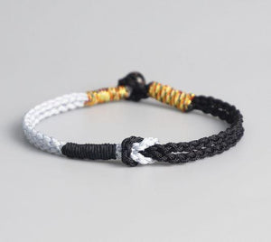 Tibetan Buddhist Double Sailors Knot & Coconut Shell Om Mantra Bead FRIENDSHIP Bracelet