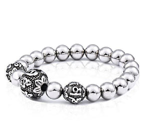 Stainless Steel 6 Syllable OM MANTRA Bead SPIRITUAL Bracelet - 3 Designs