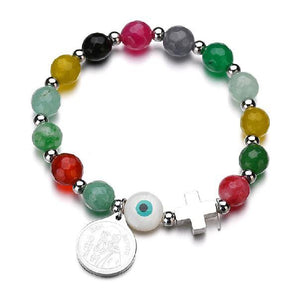 Natural Stone &  Stainless Steel ST BENEDICT PROTECTION Medal Charm Bracelet