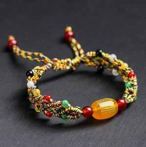 Tibetan Buddhist Hand tied Knot Agate Stone PERFECTION of WISDOM SUTRA Bracelet