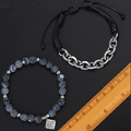 2 Pc Set Frosted Matte Agate Stone & Stainless Steel Cable Chain  STABLIZING Bracelets