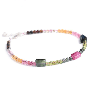 Natural  Rainbow Tourmaline  Stone PRODUCTIVITY Bracelet