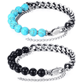 Mens Turquoise & Cuban Link Stainless Steel 3 in 1 HEALING Bracelet