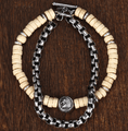 Lion COURAGE Totem~ 2 in 1 Sandalwood & Stainless Steel Bracelet