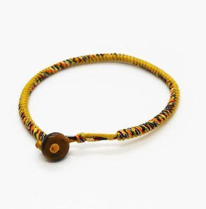 Tibetan Buddhist Rope Bracelet with Tiger Eye Stone Bead- 24 Multi Rope & Mix Color Choices
