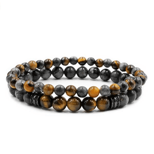 Tiger Eye & Labradorite Stone TRANSFORMATION Mens 2 pc Bracelet Set