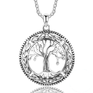 925 Sterling Silver Celtic Design Tree of Life Pendant Necklace