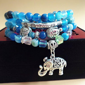 Multi-layered Blue Tourmaline Stone Buddha & Elephant bracelet