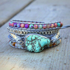 Natural Stone & Turquoise PROTECTION AMULET Wrap Bracelet