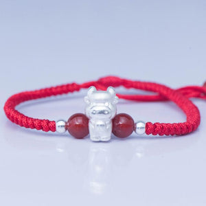 2021-The Year of the OX ! Pure 999 Silver Chinese Zodiac Animal Red Rope bracelets