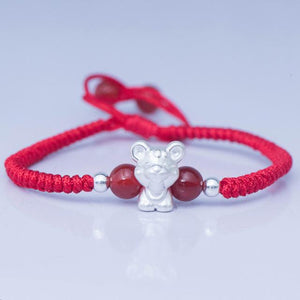 2020-The Year of the RAT ! Pure 999 Silver Chinese Zodiac Animal Red Rope bracelets