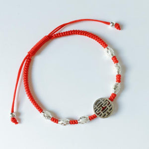 Sterling Silver Lucky Red Rope DOUBLE HAPPINESS Charm Bracelet