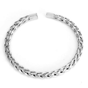 Finely Braided Titanium Steel Men's Cuff Bangle