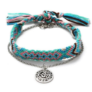 SUMMER is HERE! 2 /pc Cotton & OM Symbol Anklet/ Bracelet