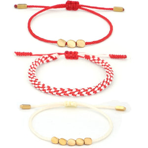 Tibetan Handmade Lucky Knot 'BE BOLD' Copper & Red Rope 3 /pc Bracelet Set