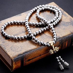 Tactical 10mm Stainless Steel & Dorje 108 Mala Bead SELF DEFENSE Bracelet