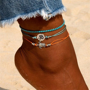 SUMMER STYLE! Vintage Shell,Beads ,Turquoise Anklets